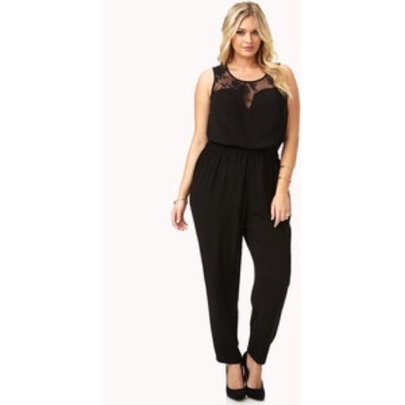 Forever 21 Pants Forever21 Plus Size 2x Black Lace Jumpsuit Poshmark